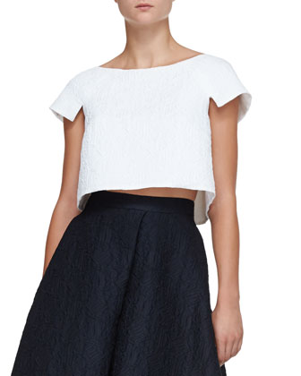 Sculpted Jacquard Crop Top