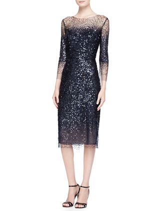 3/4-Sleeve Sequined Illusion-Trim Sheath Dress