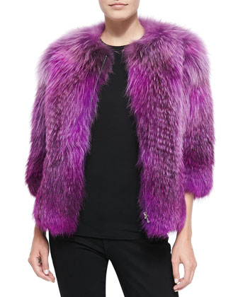 Fox Fur Front-Zip Jacket