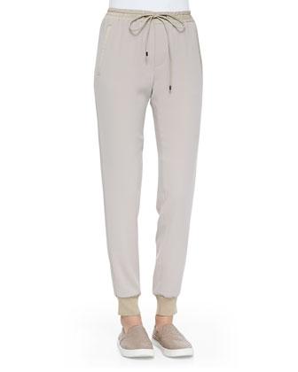 Pull-On Drawstring Jogging Pants, Light Khaki