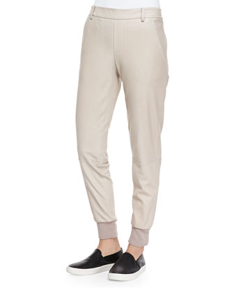 Knit-Cuff Leather Jogging Trousers, Light Khaki