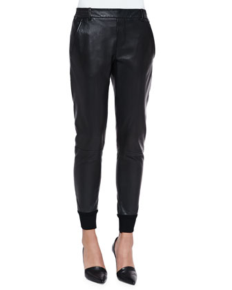 Knit-Cuff Leather Jogging Trousers, Black