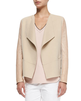 Leather-Sleeve Draped Wool Jacket, Cashew