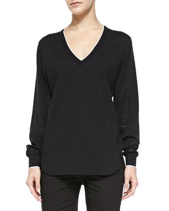 Contrast-Trim Silk-Sleeve Top