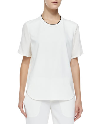 Mixed-Media Trimmed Tee, Off White/Black