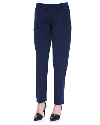 Satin-Striped Tuxedo Trousers, Blue Marine