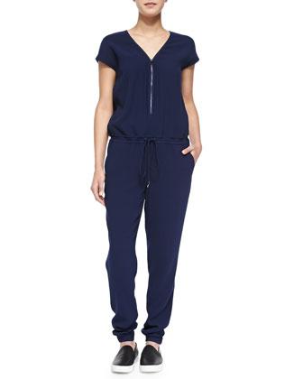 Front-Zip Drawstring Jersey Jumpsuit