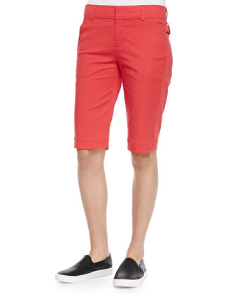 Twill Bermuda Shorts, Tomato