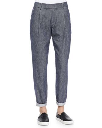 Railroad-Stripe Tapered Cotton Trousers