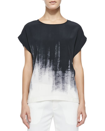 Brushstroke-Print Silk Tee, Off White/Black