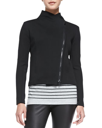 Asymmetric Scuba Jacket, Black