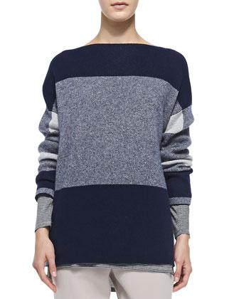 Mixed-Pattern Knit Sweater