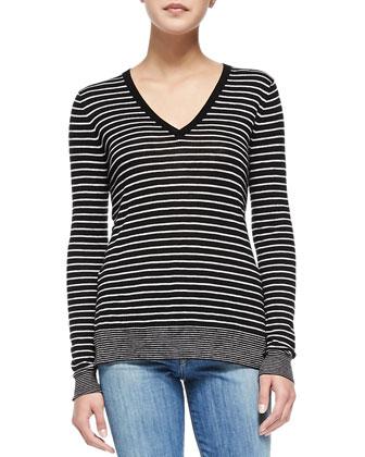 Contrast-Trim Striped Knit Tee, Black/Steel