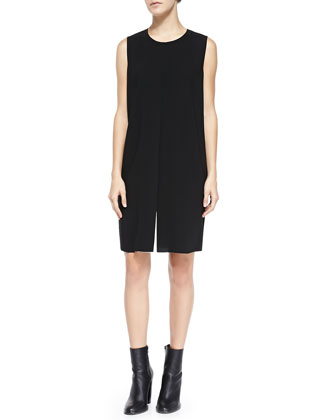 Flyaway-Front Crepe Dress, Black/Ivory