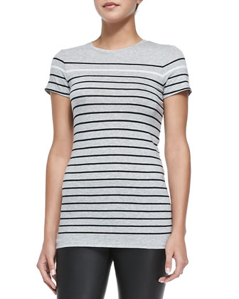 Breton-Stripe Boy Tee, Heather Gray