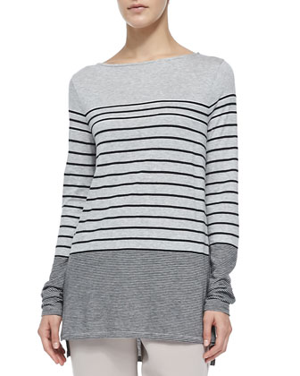 Mixed-Stripe Slub Tee, Heather Gray