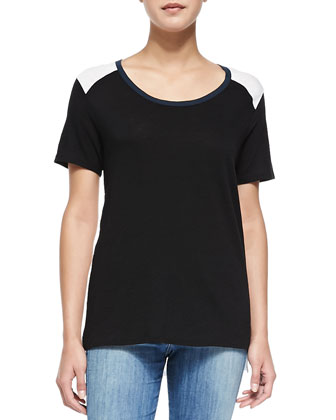 Tricolor Short-Sleeve Tee, Black/White/Coastal
