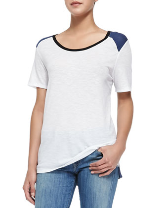Tricolor Short-Sleeve Tee, White/Blue/Black