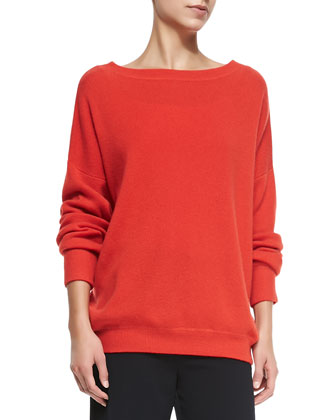 Cashmere Boat-Neck Oversize Sweater, Tomato