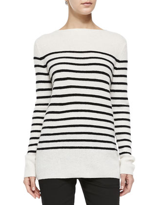 Cashmere Striped Ribbed Sweater, Off White/Black