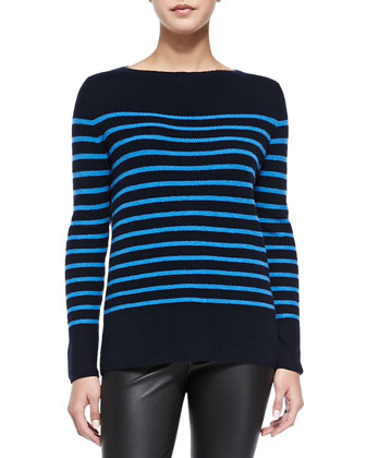Cashmere Ribbed Striped Sweater, Coastal/Ocean