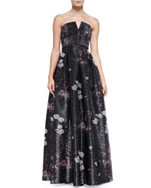 Kamila Printed Strapless Organza Gown