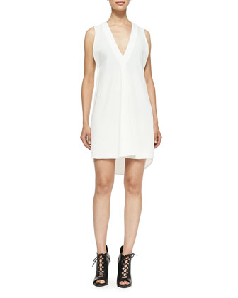 Sleeveless V-Neck Dress W/ Underpinning