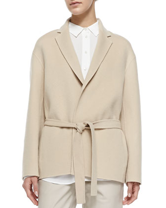 Self-Tie Belted Easy Jacket