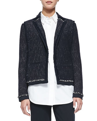 Fringe-Trim Tweed Jacket, Coastal