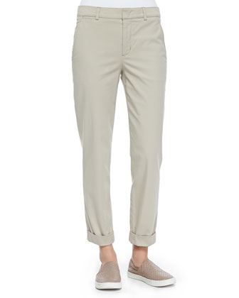 Rolled-Cuff Boyfriend Trousers, Light Khaki