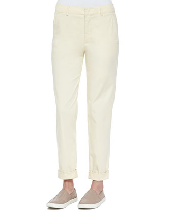 Rolled-Cuff Boyfriend Trousers, Maize