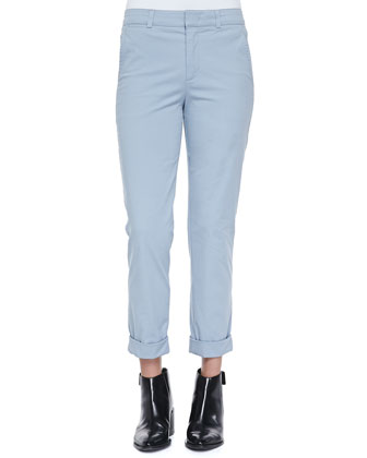 Rolled-Cuff Boyfriend Trousers, Slate Blue