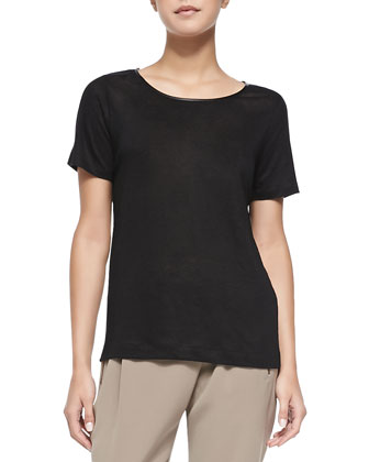 Piped Relaxed Linen Tee, Black