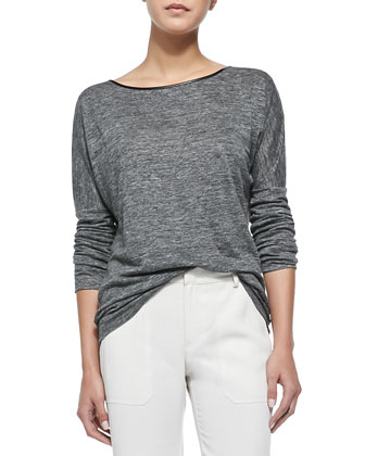 Long-Sleeve Tee with Piping, Charcoal