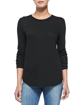 Long-Sleeve Basic Crewneck Top, Heather Black