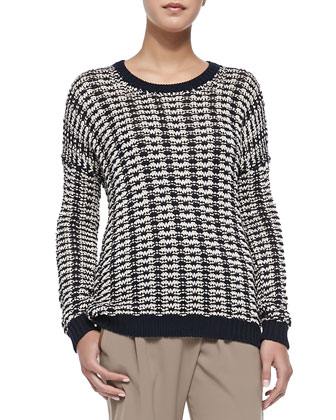 Mercerized Two-Tone Knit Sweater, Coastal/Natural