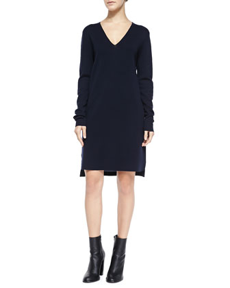 Long-Sleeve Mixed Media Dress