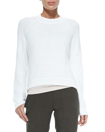 Engineered Rib-Knit Sweatshirt, Optic White