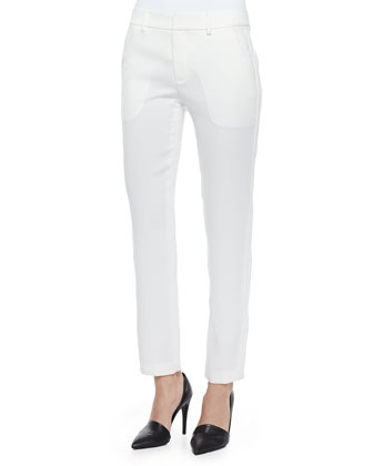 Satin-Striped Tuxedo Trousers, Chalk