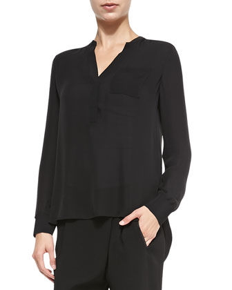 Long-Sleeve Blouse W/ Half Placket