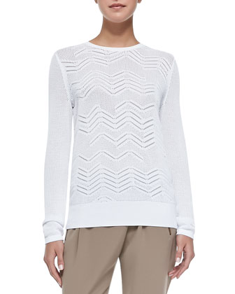Crewneck Zigzag Mesh Sweater, White
