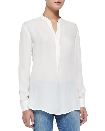 Half-Placket Silk Tunic, Off White