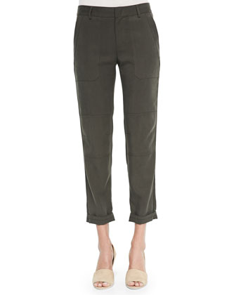 Cropped Twill Cargo Pants
