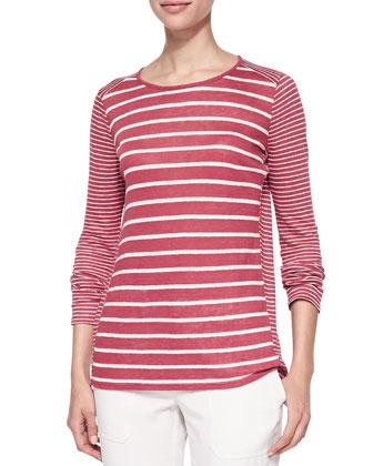 Long-Sleeve Tee W/ Mixed Stripes