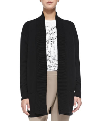 Cashmere-Blend Shawl Cardigan, Black