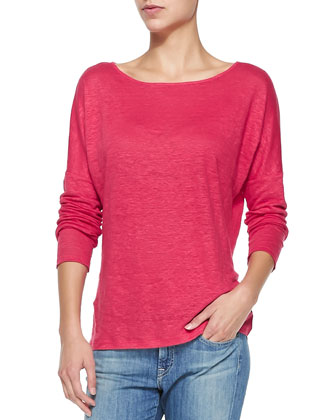 Long-Sleeve Linen-Slub Tee