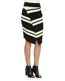 Clift Striped Asymmetric Wrap Skirt