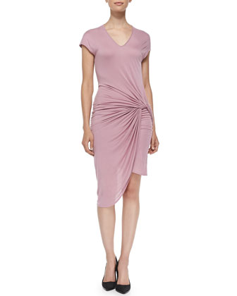 V-Neck Jersey Dress W/ Twist, Rind