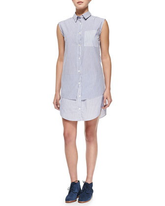 Sleeveless Shirtdress with Layered Hem