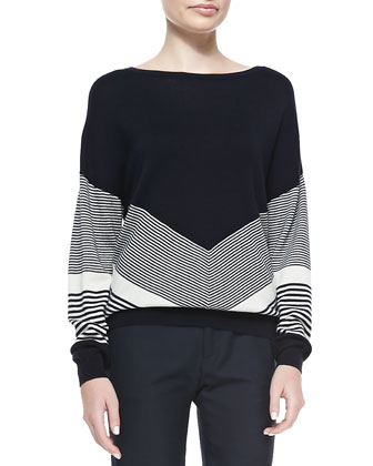 Chevron-Stripe Classic Knit Sweater